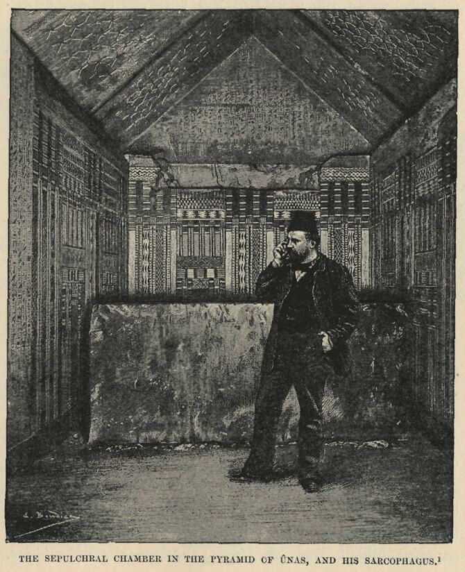 An explorer in the Burial Chamber of Unas, drawn from a photograph (1881: Gutenberg.org)