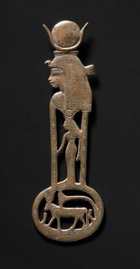 120. Tiye as Hathor menat pendant bronze MFA semna sudan