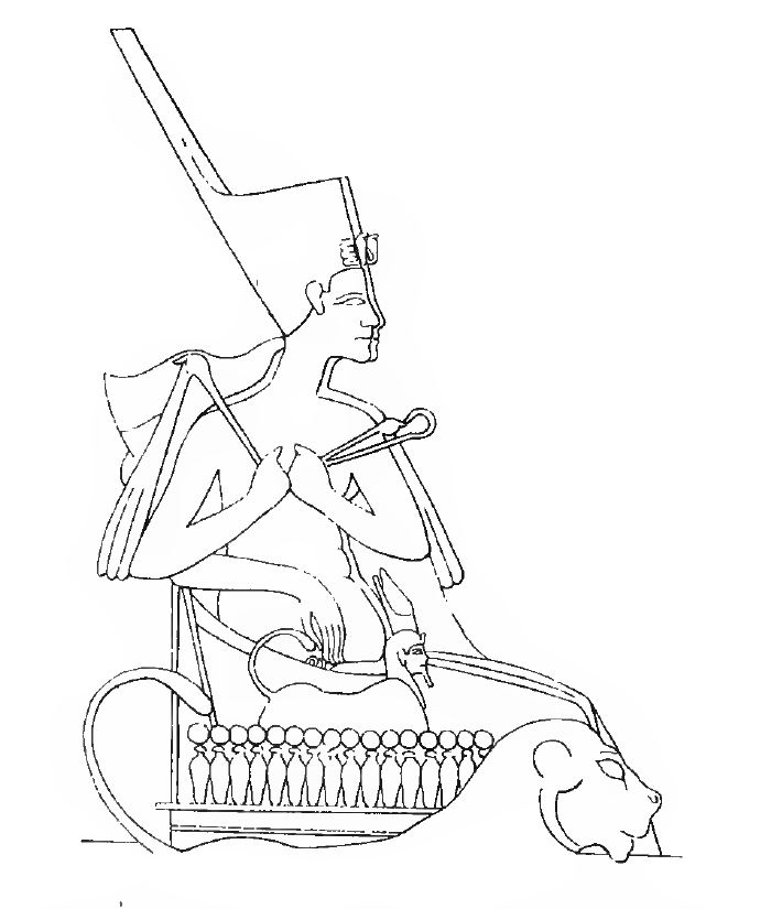 121. Akhenaten and Nefertiti riding to the tribute (D3 10) Nefertiti puts her arm around his waist